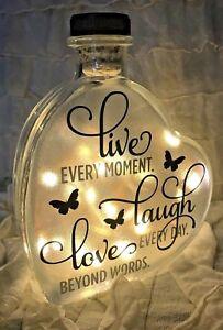 "LED 6"" Glass Light Up Heart Bottle Personalised LIVE LAUGH LOVE Lamp Gift Vase"