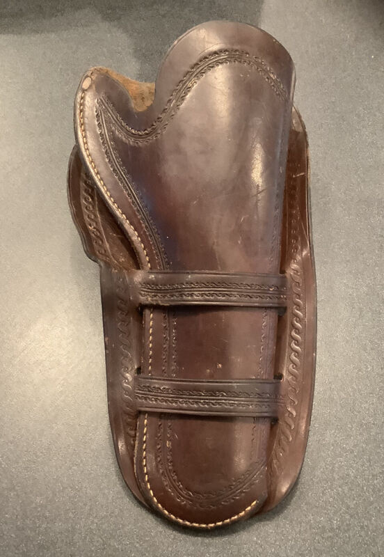 """VINTAGE WESTERN HOLSTER FOR COLT SINGLE ACTION 5 1/2"""" DOUBLE LOOP WELLS FARGO ?"""