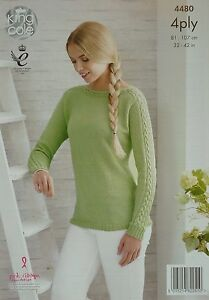 KNITTING PATTERN Ladies Long Sleeve Boat Neck Jumper Bamboo Cotton 4ply 4480