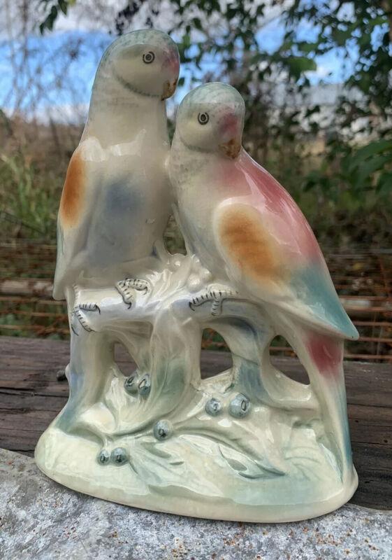 Spaulding China Parakeets Figurine Vintage Statue Des Pato