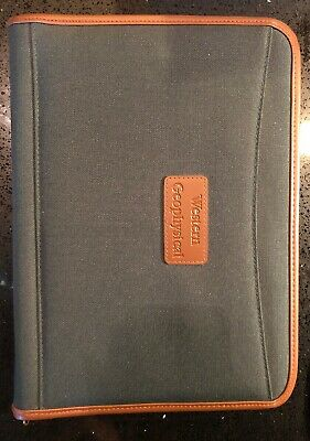 Western Geophysical Leeds Leather Portfoliopadfolio Binder Waterproof Zippered
