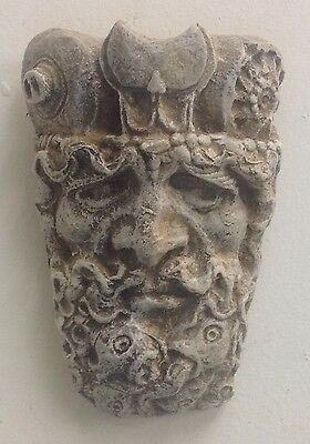 Antique finish Gothic Triton Face Wall Plaque Home Garden Decor 10034
