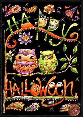 Halloween Owls Cat Kitten Witch Pumpkin Leaves GLITTERED -  Greeting Card - NEW - Halloween Animated Greetings