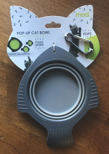 Collapsible Cat Bowl Silicone Pop Up Travel Pet Food Water Feeder Portable NEW