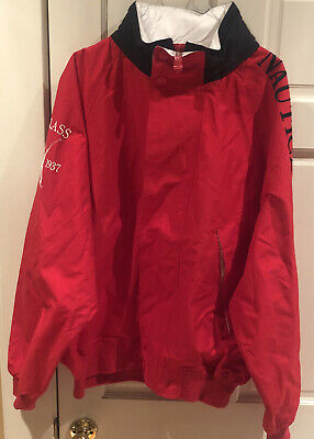 Vintage 90's Red Nautica Challenge J-Class Sailing Jacket ~ Size XXL