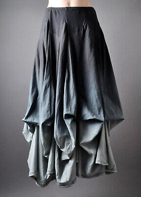 Black Gray Ombre Steampunk Goth Womens Adjustable Full Length Long Maxi Skirt L