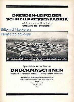 Pressenfabrik Coswig Reklame 1928 Größte Druckmaschinen Fabrik Europas Werbung +