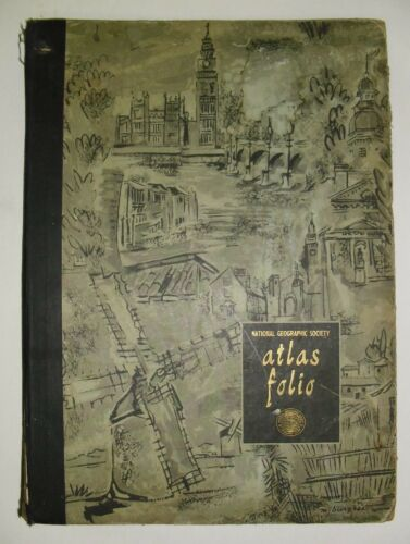 1958 ATLAS FOLIO National Geographic Society, 41 maps, large