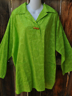 Dilemma Art To Wear Hand Woven 100  Cotton Clipped Paisley Shirt In Lime  Os