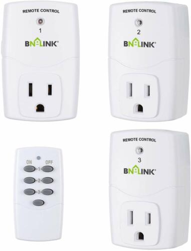 BN-LINK Wireless Remote Control Outlet Switch Power Plug -1 remote 3 plugs