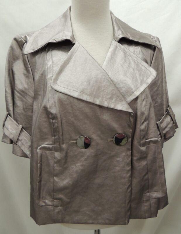 Trina Turk Shiny Silver Half Sleeve Cropped Blazer Jacket 10