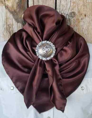 Wild Rag Scarf Cowboy Western Buckaroo Scarves Bandana Cowgirl silky brown