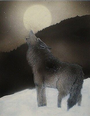 Aceo Miniature Picture Wildlife Wolf Nature Moon Snow Howling Art Trading Card