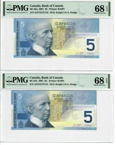 Canada Lot of Two Consecutive $5 Banknote 2001 BC-62a PMG Superb Gem UNC 68 EPQ