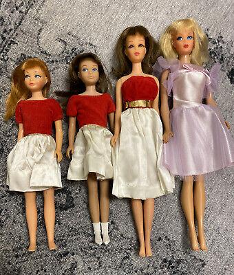 Lot 4 Vintage Mattel Barbie Francie Skipper Dolls Silk N Fancy Dresses