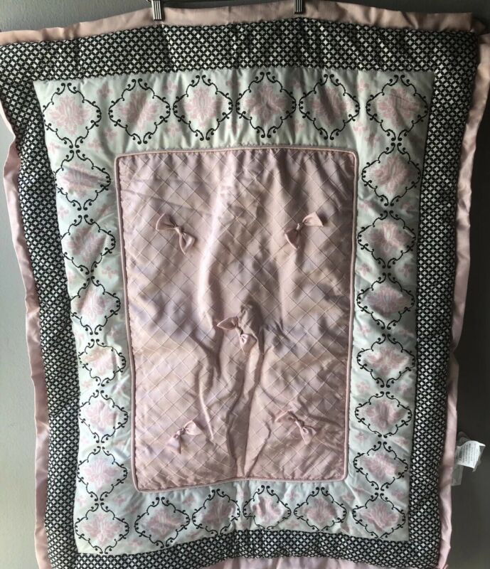 Lambs & Ivy Pink Black Print Baby Bedding Comforter Only Blanket Girl (Flaw)
