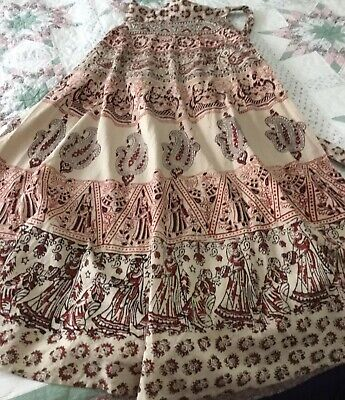 70s Vintage Indian Block Print Cotton Gauze Boho Wrap Skirt S 10/12