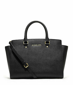 Michael Kors Black Saffiano Large Selma Top Zip Satchel Bag