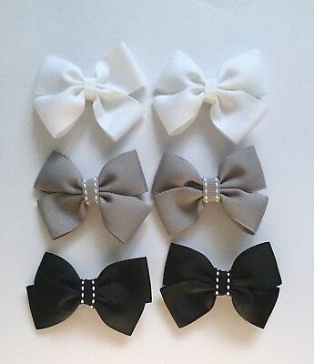 SALE!! 3 Pairs (6 Packs)Of White,grey,black Hair Clips/girls Accessories