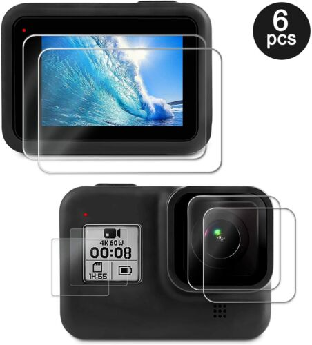 Screen Lens Protector for GoPro Hero 8 Black Ultra Clear Tempered Glass 6 Pcs