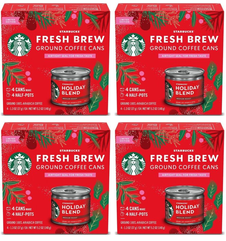 Starbucks Holiday Blend Medium Roast Ground Coffee Cans 4 Boxes 16 Cans BBD 1/21