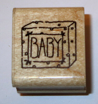 BABY Rubber Stamp JRL Design Wipes Toys Diaper Box GUC Wood Mounted