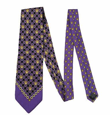"Gianni Versace Mens 100% Silk Purple All Over Medusa Baroque Tie 3.75"" Width euc"