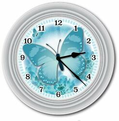 Turquoise Blue Butterfly Wall Clock - Bedroom Kitchen Home Girls - GREAT GIFT