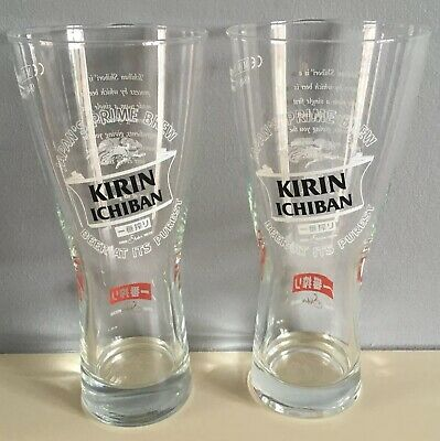 2 X Kirin Ichiban Japan's Prime Brew 1/2 pint glasses