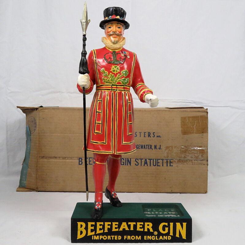 1949 Beefeater Gin Guard Backbar Figurine Statue Sign Rare Early 1st Ed w/Box