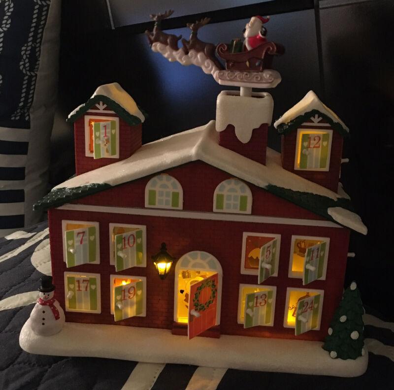 AVON Animated Musical Countdown To Christmas Calendar Advent House Santa Works