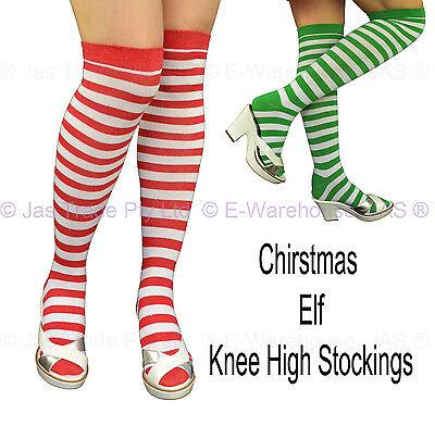 Unisex Elf Santa Halloween Stripe Christmas Party Costume Knee High Stockings