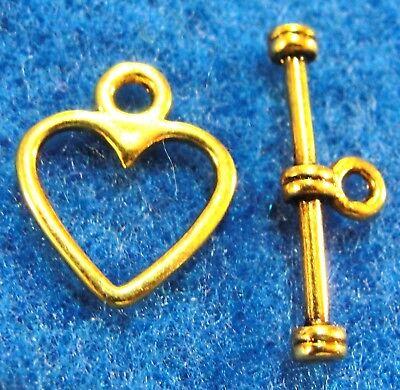 100Sets WHOLESALE Tibetan Antique Gold HEART Toggle Clasps Connector Hooks Q0353