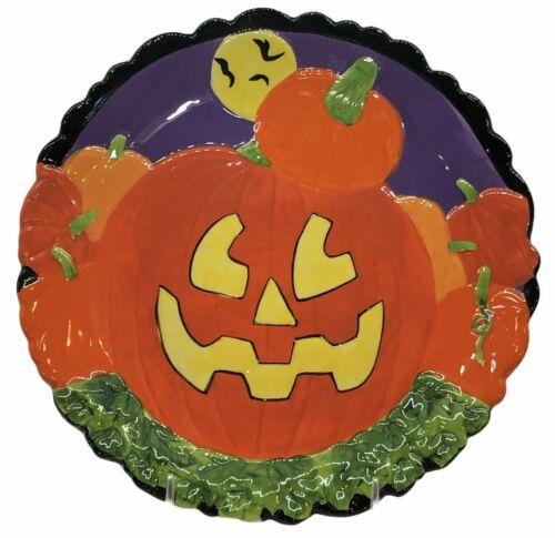 """Heart Felt Kitchen Creations Halloween Plate 10"""" Pumpkin Patch Jack O Lantern"""