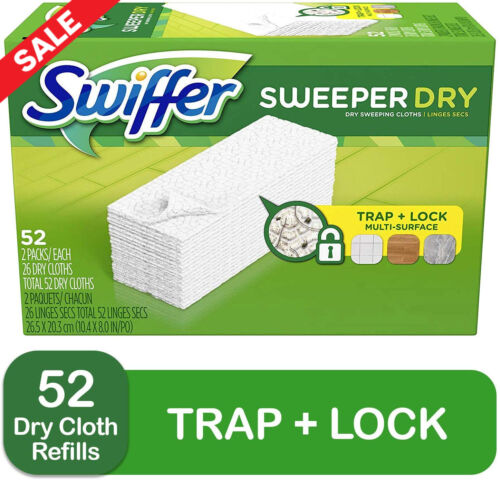 Swiffer Sweeper Dry Mop Pad Refills for Floor Mopping and Cleaning, 52 Count