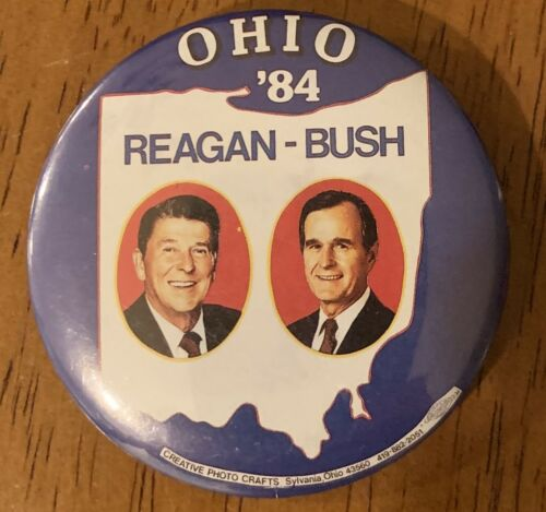 RARE Ronald Reagan George Bush (1984) Ohio Presidential Campaign Button
