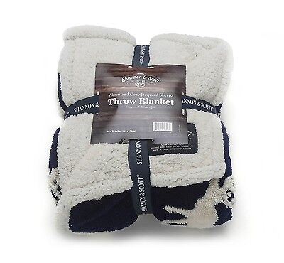Shannon   Scott Jacquard And Sherpa Reversible Textured Moose Design Blue