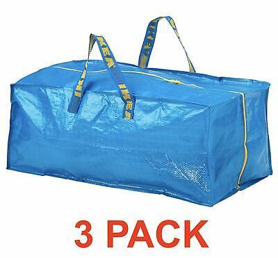 NEW IKEA 3 X LARGE BLUE FRAKTA ZIPPERED TOTE STORAGE LAUNDRY BAG FREE SHIPPING