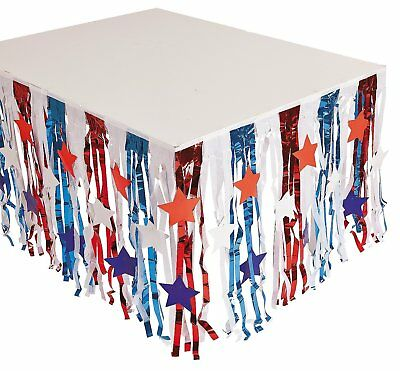 Foil Patriotic Fringe Table Skirt with Star Cutouts 9 ft. x 29