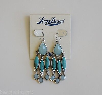 NEW-LUCKY BRAND SILVER TONE+FAUX TURQUOISE,BLUE+TEAL WOMENS FISH HOOK EARRINGS