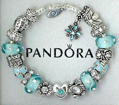 Authentic Pandora Sterling Silver Bracelet with Love Heart Aqua European Charms