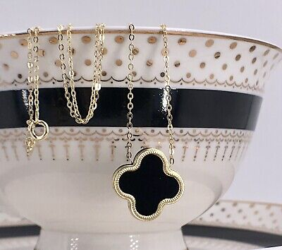 Black Onyx 4 Leaf Clover & Solid 14k Gold Pendant/Necklace, 16.75