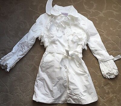 ERMANNO SCERVINO Junior White Coat with Lacey Accents~10~Italy