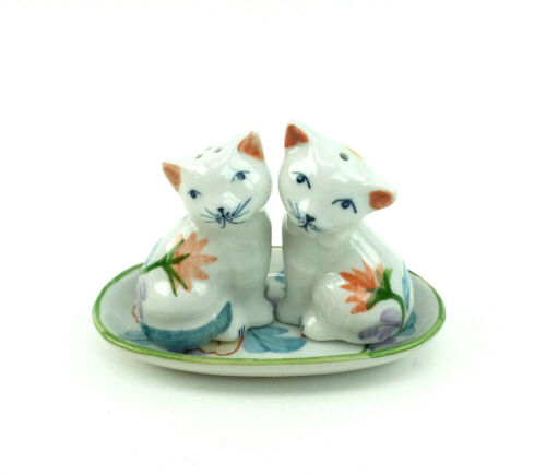 Kitty Cat Salt and Pepper Shakers with Tray Hand Painted Flowers Porcelain