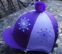 Riding Hat Silk Skull Cap Cover Lilac & Purple Explosion With Or W/o Pompom - affordable horseware - ebay.co.uk