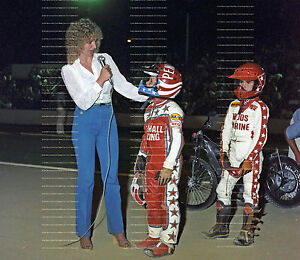 ORIGINAL 1981 GREG HANCOCK & RONNIE CORREY COSTA MESA SPEEDWAY MOTORCYCLE PHOTO