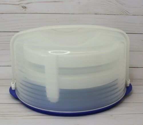 Tupperware Round Cake Taker Carrier Pie Holder Blue Top Locking Lid 3062B