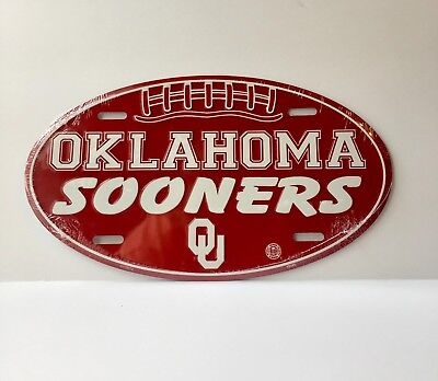 OKLAHOMA SOONERS CAR TRUCK TAG OVAL FOOTBALL LICENSE PLATE METAL SIGN MAN CAVE