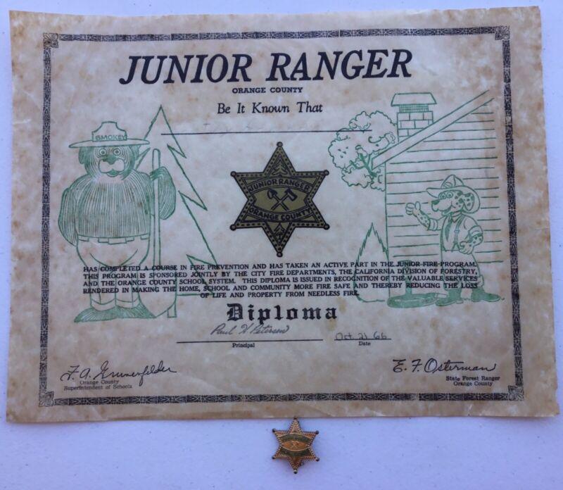 1966 Orange County CA Junior Ranger Badge & Diploma Fire Prevention Smokey Bear