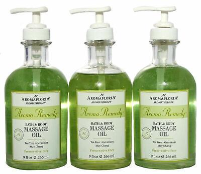 Aromafloria Aromatherapy Aroma Remedy Bath and Body Massage Oil 9 oz. Lot of -